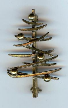 Vintage Zentall Modernist Style Christmas Tree Pin or Brooch