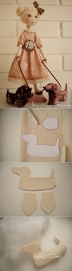 Costura textil juguete del estilo dachshund-shabby chic
