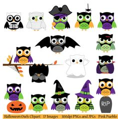Halloween Owls Clipart Clip Art, Includes Vampire, Mummy, Frankenstein, Zombie, Bat, Witch, Skeleton - Commercial and Personal. $6.00, via Etsy.