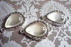Teardrop Shape Antiqued Silver Image Settings Charms 2 by Antiqued, $5.99