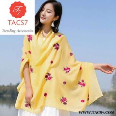 Ethnic style fashion embroidery color floral printed scarf