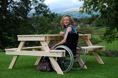 Accessible picnic table. Very easy design that accomodates wheelchair users…