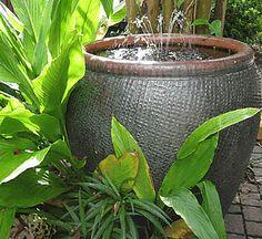 self contained fountain using a #garden pot