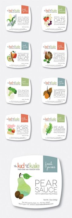 and the Kale Packaging Baby Food Toddler Food Fresh Puree Fresh Patties Fresh Textures Organic Free Range All Natural Torie Partridge Cherry Blossom CreativeKid and the. Kids Packaging, Organic Packaging, Food Packaging Design, Packaging Design Inspiration, Brand Packaging, Product Packaging, Baby Puree Recipes, Baby Food Recipes, Food Baby