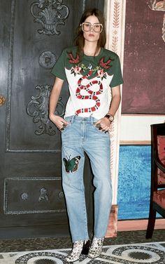 Animal friendly print-on-print: Shirts + 1990s boyfriend jeans at Gucci Pre-Fall 2016.