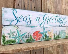 Seas 'n greetings sign Coastal Christmas Decor, Nautical Christmas, Tropical Christmas, Beach Christmas, Christmas Signs, Christmas Time, Christmas Decorations, Christmas Ornaments, Christmas Wood