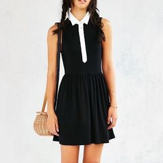 NWOT Cooperative Collared Button Front Dress Wednesday Adams inspired ribbed collared dress. NWOT from uo Urban Outfitters Dresses