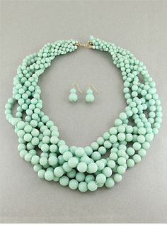 CHUNKY STATEMENT MINT GREEN  MULTI  STRAND ROW PEARL BEAD NECKLACE SET