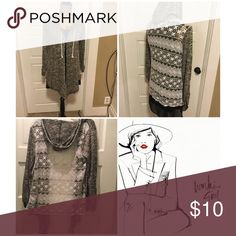 Marbled Lace Back Hoodie Very light weight marbled hoodie with lace back, perfect as a layering piece or bathing suit cover up. 56% Rayon  42% Poly  2% Spandex, Juniors Large, tags says size L (11-13) Boutique Sweaters Cardigans