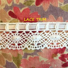"""1 yard of pure white crochet with an inserted satin ribbon 1/"""" w"""