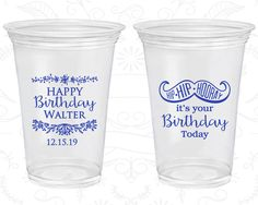 Soft Sided Birthday Cups, Happy Birthday, Hip Hip Hooray, its your birthday today, Mustache Birthday, Disposable Birthday Cups (20250)