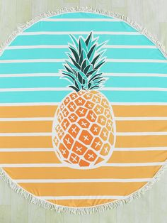 SheIn offers Pineapple & Block Striped Print Fringe Edge Round Beach Blanket & more to fit your fashionable needs. - April 13 2019 at Yoga Mantras, Romwe, Summertime Outfits, Floppy Hats, Beach Dresses, Beach Outfits, Girls Rules, Beach Blanket, Beachwear For Women