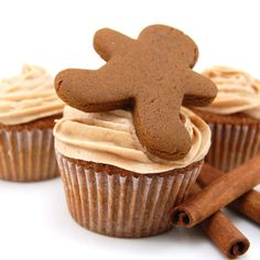 Gingerbread cupcakes with cinnamon cream cheese frosting.