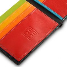 Colorful: small leather multicolour wallet with many credit cards pockets. Black for man