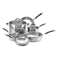 KitchenAid 10 Piece Classic Stainless Steel Set with Black Silicone Handles