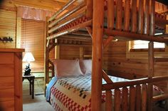 The third bedroom at Peace of the Mountain cabin has a full over full bunk bed.