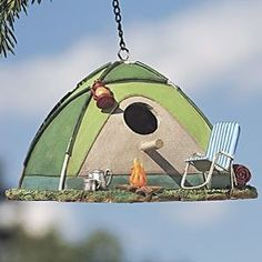 Camping Birds? What other kind are there? Creative for sure...... #birdhouses