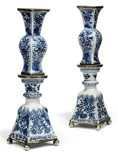 A PAIR OF CHINESE BLUE AND WHITE PORCELAIN CANDLE STICKS