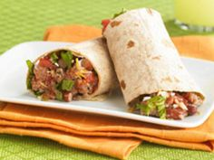 bean-and-cheese burrito.... change it to make 93/7 meat or use ground chicken or turkey.... use reduced fat cheese, greek yogurt instead of sour cream, spinach instead of romaine and low calorie high fiber whole wheat wraps...plus no tomatoes since my hubby and me don't like them but maybe jalapenos and/or bell peppers and onions