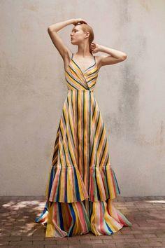 Carolina Herrera Resort 2018 Collection maxi stripe dress