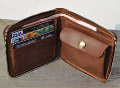 Genuine Leather wallet with lagre zipper-Men wallet-bifold wallet-Brown vintage Leather purce on Etsy, $59.00