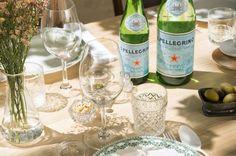 S.Pellegrino bottles on the tablescape designed by Atelier 4/5 for the restaurant 'Caffè Al Dente' in Bruxelles, Belgium.