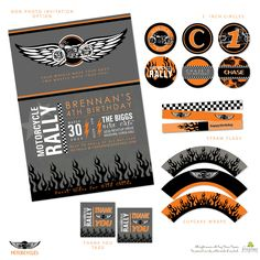 Motorcycle mayhem will ensue with this motorcycle themed printable party pack.