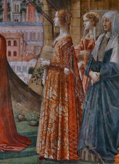 Artist: Domenico Ghirlandaio - Title: Visitation (Detail, from Tornabuoni Chapel, Florence) - Date: 1485-1490