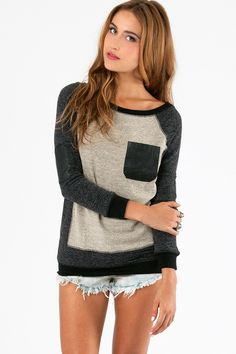 DIY sew leather pocket onto sweater