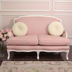 Shabby Sweet Pink Linen Settee