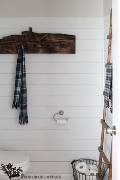Fall Home Tour by The Wood Grain Cottage Bathroom Kids, Autumn Home, Home, Plank Walls, Country Decor, Ship Lap Walls, House Tours, Bath Towel Hooks, Wood Bath