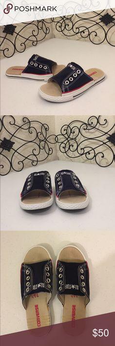 CONVERSE ALL⭐️STAR Sneaker Sandals Rare Converse cut away sneaker slip on sandal slides. Women's Sz 5.5, Men's Sz 3.5. Navy blue, white trim, white rubber sole with red & blue stripes. Check out the rest of mycloset! Converse Shoes Sandals