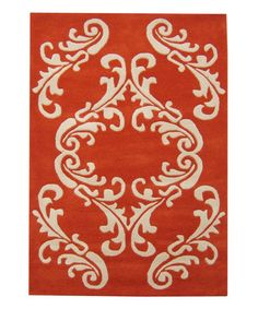 This Orange & Ivory Filigree Tufted Wool Area Rug by Alliyah Rugs is perfect! #zulilyfinds