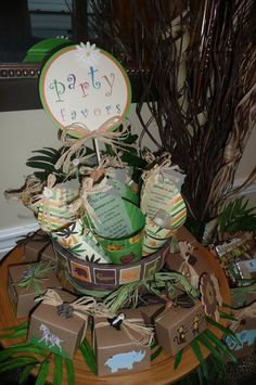 safari/jungle parties need lots of greenery and raffia