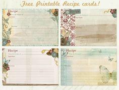 Free #recipe card #printables. Super pretty.