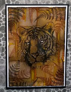 Tiger card for Australian Simply Cards mag. Masculine Cards, Cute Cards, Vintage Patterns, Cardmaking, Challenges, African, Card Ideas, How To Make, Animals