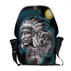 Great gift idea! Indian chief laptop commuter bag http://www.zazzle.com/indian_chief_wolves_messenger_bag-210529113963050039