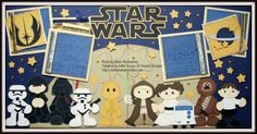A two page Star Wars themed scrapbook layout featuring paper piecing patterns from Little Scraps of Heaven Designs
