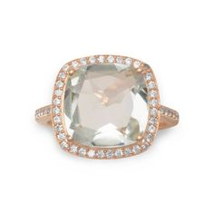 75c2965c8 Aine Prasiolite Ring in 14k Rose Gold Plated Cushion Ring, Prasiolite,  Sterling Silver Jewelry