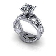 Moissanite and Diamond Modern Engagement Ring Pure Light™ Moissanite 2.25 CTW