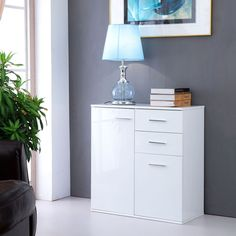 Full White High Gloss Sideboard Wide Cabinet Unit Living Room 2 Doors Drawers