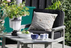 Ikea Garden Furniture, Catalogue Ikea, Seat Cushions, Pillows, Outdoor Armchair, Ikea Family, Outdoor Coffee Tables