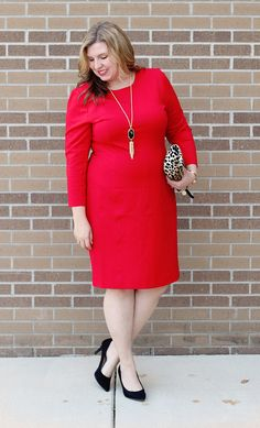Red J. Crew Factory zip ponte dress, black heels, Kendra Scott tassel necklace and leopard clutch Dress Outfits, Cool Outfits, Red Clothing, Clothing Ideas, Church Outfits, Casual Looks, Plus Size Fashion, Preppy, Dress Skirt
