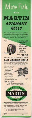 1954 Vintage Ad Martin Automatic Fishing Reels Model 48, Bait Casting Model 10