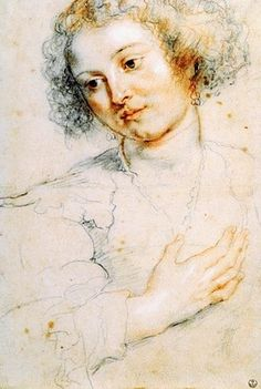 peter paul rubens ⊰ young woman looking down I628 (studi for heard st apollonia) florence (siegen,  I577 anvers, belgique I640) baroque renaissance art dessin drawing