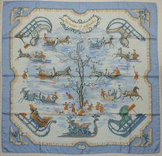 """Hermes """"Traineaux Et Glissades"""" Light Blue Silk Scarf"""
