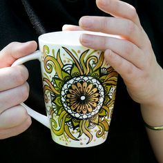 Hand Painted Mandala Mug with Quote. Unique by EgleMANDALAdesign