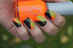 neon orange + olive + black