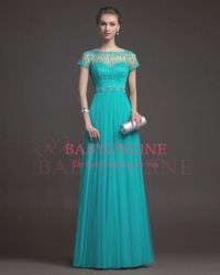 Online Shop Free Shipping Teal Tulle Long Prom Dresses 2014 New Arrival Formal Evening Dress With Short Sleeves RS9633|Aliexpress Mobile