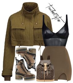 A fashion look from September 2017 featuring green military jacket, short mini skirts and palm shoes. Browse and shop related looks. Swag Outfits, Mode Outfits, Grunge Outfits, Chic Outfits, Trendy Outfits, Fall Outfits, Fashion Outfits, School Outfits, Fashion Killa
